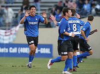 22 May 2004: Brian Ching celebrates with team after scoring a goal during first half of the game against Los Angeles Galaxy at Spartan Stadium in San Jose, California.   Earthquakes defeated Galaxy 4-2. Mandatory Credit: Michael Pimentel / ISI