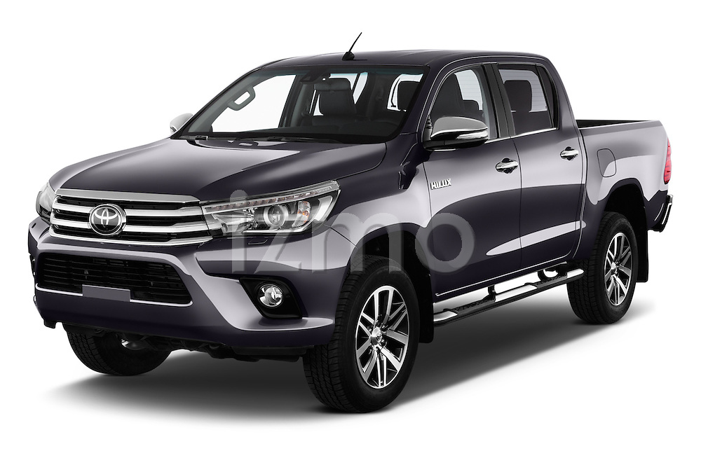2017 Toyota Hilux Lounge-Double 4 Door Pickup Angular Front stock photos of front three quarter view