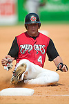 Carolina catcher Patrick Arlis slides into third base in game action versus Tennessee at Five County Stadium in Zebulon, NC, Sunday, July 2, 2006.  The Mudcats defeated the Smokies 4-0.