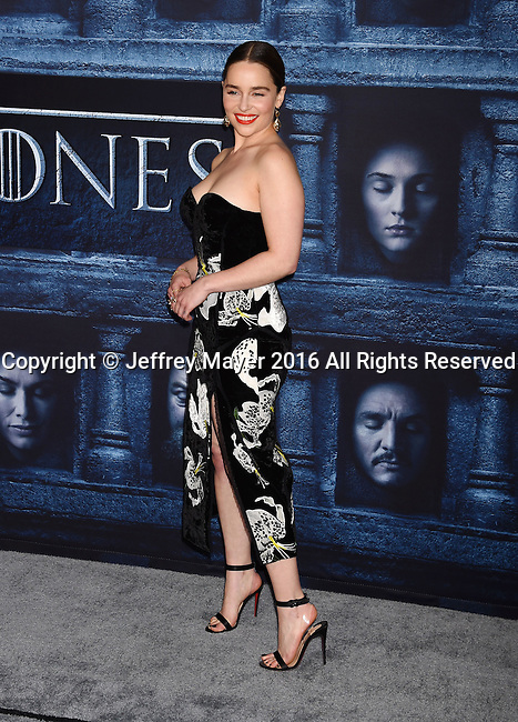 HOLLYWOOD, CA - APRIL 10: Actress Emilia Clarke arrives at the premiere of HBO's 'Game of Thrones' Season 6 at the TCL Chinese Theatre on April 10, 2016 in Hollywood, California.
