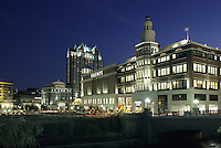 Providence, Rhode Island.Filene's Department store and the Westin Hotel seen from Waterplace Park