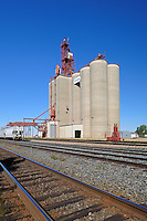 Inland grain terminal and railway tracks<br /> Maple Creek<br /> Saskatchewan<br /> Canada