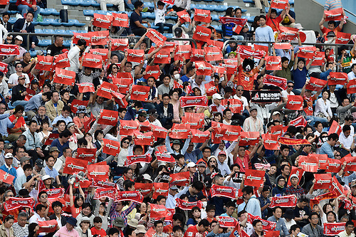 Sunwolves fans, April 23, 2016 - Rugby : Super Rugby match between Sunwolves 38-26 Jaguares at Prince Chichibu Memorial Stadium in Tokyo, Japan. (Photo by Yuka Shiga/AFLO)