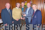Christy Lehane, second from left and Mike McAulliffe, second from right, pictured as they received the Michael Courtney memorial trophy on behalf of Lissivivigeen National school and district community alert association at the St Patricks Day prizegiving in the International Hotel, Killarney on Thursday night. Pictured with them are Michael O'Leary, Town Clerk, Kevin Tarrant, judge and Mayor of Killarney Cllr Donal Grady.