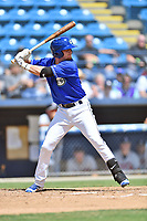 Asheville Tourists second baseman Taylor Snyder (28) at bat during a game against the Rome Braves at McCormick Field on September 3, 2018 in Asheville, North Carolina. The Tourists defeated the Braves 5-4. (Tony Farlow/Four Seam Images)