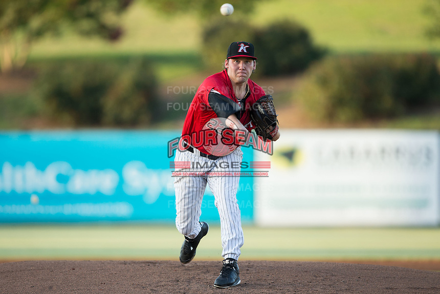 Kannapolis Intimidators starting pitcher Max Beatty (22) in action against the Lakewood BlueClaws at Kannapolis Intimidators Stadium on August 11, 2016 in Kannapolis, North Carolina.  The Intimidators defeated the BlueClaws 3-1.  (Brian Westerholt/Four Seam Images)