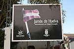 Advertising sign for Jamon de Huelva, Jabugo, Sierra Morena, Sierra Aracena, Huelva province, Spain