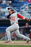 Brooklyn Cyclones designated hitter Jeff Diehl (24) at bat during a game against the Batavia Muckdogs on August 11, 2014 at Dwyer Stadium in Batavia, New York.  Batavia defeated Brooklyn 4-3.  (Mike Janes/Four Seam Images)
