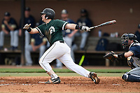 Third baseman Will Hardigree (22) of the University of South Carolina Upstate Spartans bats in a game against the Pittsburgh Panthers on Saturday, February 24, 2018, at Cleveland S. Harley Park in Spartanburg, South Carolina. The catcher is Cole MacLaren. Pittsburgh won, 3-1. (Tom Priddy/Four Seam Images)