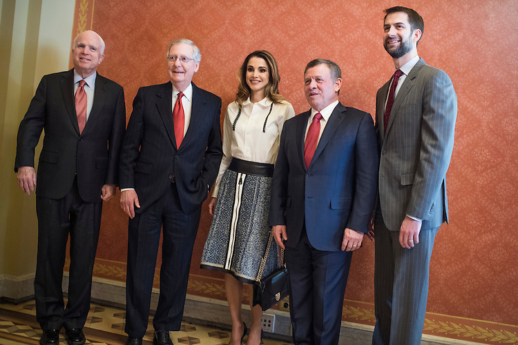 UNITED STATES - JANUARY 31: King Abdullah II, second from right, and Queen Rania of Jordan, pose with Sen. John McCain, R-Ariz., left, Senate Majority Leader Mitch McConnell, R-Ky., and Sen. Tom Cotton, R-Ark., right, before a meeting in the Capitol, January 31, 2017. (Photo By Tom Williams/CQ Roll Call)