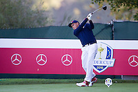 Richie Fowler (Team USA) on the 7th tee during the Saturday morning Foursomes at the Ryder Cup, Hazeltine national Golf Club, Chaska, Minnesota, USA.  01/10/2016<br /> Picture: Golffile | Fran Caffrey<br /> <br /> <br /> All photo usage must carry mandatory copyright credit (&copy; Golffile | Fran Caffrey)