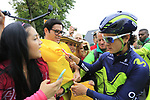 Colombian fans with Carlos Betancur (COL) outside the Movistar Team bus before Stage 1, a 14km individual time trial around Dusseldorf, of the 104th edition of the Tour de France 2017, Dusseldorf, Germany. 1st July 2017.<br /> Picture: Eoin Clarke | Cyclefile<br /> <br /> <br /> All photos usage must carry mandatory copyright credit (&copy; Cyclefile | Eoin Clarke)
