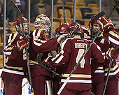 Patrick Brown (BC - 23), Thatcher Demko (BC - 30), Isaac MacLeod (BC - 7) - The Boston College Eagles defeated the Boston University Terriers 3-1 (EN) in their opening round game of the 2014 Beanpot on Monday, February 3, 2014, at TD Garden in Boston, Massachusetts.