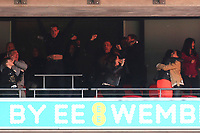 Gary Neville leaps into the air to celebrate Salford City's third goal during AFC Fylde vs Salford City, Vanarama National League Football Promotion Final at Wembley Stadium on 11th May 2019