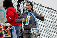 Piscataway, NJ - Sunday April 30, 2017: members of Sky Blue supporters' group, Cloud Nine during a regular season National Women's Soccer League (NWSL) match between Sky Blue FC and FC Kansas City at Yurcak Field.