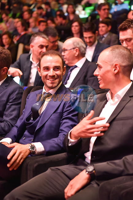 World Champion Alejandro Valverde and Enric Mas (ESP) attended the official route for La Vuelta 19 was today announced at the ADDA auditorium in Alicante. The 74th edition of the Spanish race will take place between August 24th and September 15th 2019, setting out from Salinas de Torrevieja and ending in Madrid. 19th December 2018.<br /> Picture: Unipublic/Antonio Baixauli | Cyclefile<br /> <br /> <br /> All photos usage must carry mandatory copyright credit (© Cyclefile | Unipublic/Antonio Baixauli)