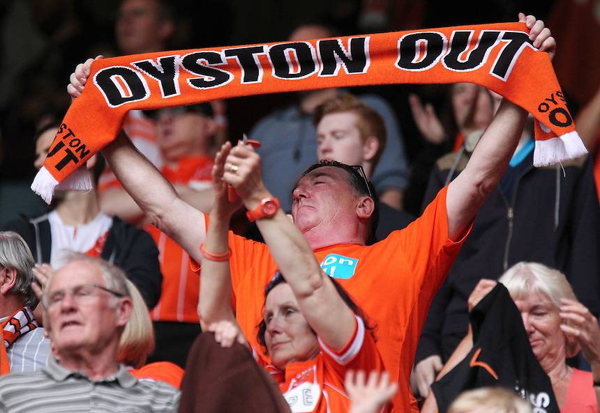 Blackpool fans protest against club owner Carl Oyston at the end of the match<br /> <br /> Photographer Rich Linley/CameraSport<br /> <br /> Football - The Football League Sky Bet League One - Sheffield United v Blackpool - Saturday 22nd August 2015 - Bramall Lane - Sheffield<br /> <br /> &copy; CameraSport - 43 Linden Ave. Countesthorpe. Leicester. England. LE8 5PG - Tel: +44 (0) 116 277 4147 - admin@camerasport.com - www.camerasport.com