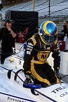 Sebastien Bourdais takes his refresher test in the car of Katherine Legge (#6)