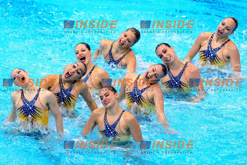 FRANCE FRA <br /> ANNEQUIN Marie / BETEILLE Morgane<br /> DAVVETAS Iphinoe / HUBAUD Estel Anais<br /> PONTAT Lauriane / SLONINA Abbygaelle<br /> LUSSEAU Solene / GUERMOUD Inesse<br /> Team Free Final <br /> London, Queen Elizabeth II Olympic Park Pool <br /> LEN 2016 European Aquatics Elite Championships <br /> Synchronized Swimming <br /> Day 05 13-05-2016<br /> Photo Andrea Staccioli/Deepbluemedia/Insidefoto
