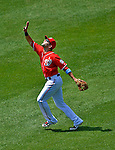 17 June 2012: Washington Nationals second baseman Danny Espinosa shags down an infield fly during action against the New York Yankees at Nationals Park in Washington, DC. The Yankees defeated the Nationals 4-1 to sweep their 3-game series. Mandatory Credit: Ed Wolfstein Photo
