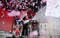 champaign extravaganza for stage winner & overall leader Michael Matthews (AUS/Orica-GreenEDGE) <br /> <br /> 2015 Giro<br /> stage 3: Rapallo - Sestri Levante (136km)