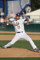 A.J. Vanegas (38) of the Rancho Cucamonga Quakes pitches during a game against the Bakersfield Blaze at LoanMart Field on June 1, 2015 in Rancho Cucamonga, California. Rancho Cucamonga defeated Bakersfield, 5-2. (Larry Goren/Four Seam Images)