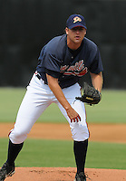 July 15, 2009: RHP Adam Bullard (48) of the Danville Braves, rookie Appalachian League affiliate of the Atlanta Braves, before a game at Dan Daniel Memorial Park in Danville, Va. Photo by:  Tom Priddy/Four Seam Images