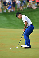 Bethesda, MD - July 2, 2017: Sung Kang sinks the putt on the eighteenth hole during final round of professional play at the Quicken Loans National Tournament at TPC Potomac at Avenel Farm in Bethesda, MD.  (Photo by Phillip Peters/Media Images International)