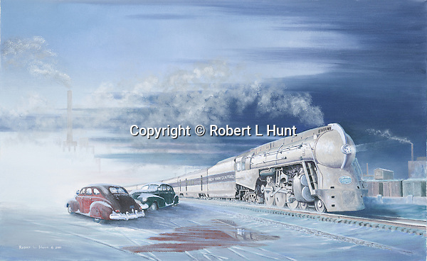"""The 20th Century Limited, flagship passenger train of the New York Central Railroad, in 1940's winter snow. Oil on canvas, 15"""" x 24""""."""