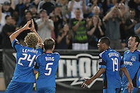 San Jose Earthquakes forward Steven Lenhart (24) celebrates his goal with midfielder Brad Ring (5), forward/midfielder Ryan Johnson (19), and defender Bobby Burling (2). The San Jose Earthquakes tied the New York Red Bulls 2-2 at Stanford Stadium in Stanford, California on July 2nd, 2011.