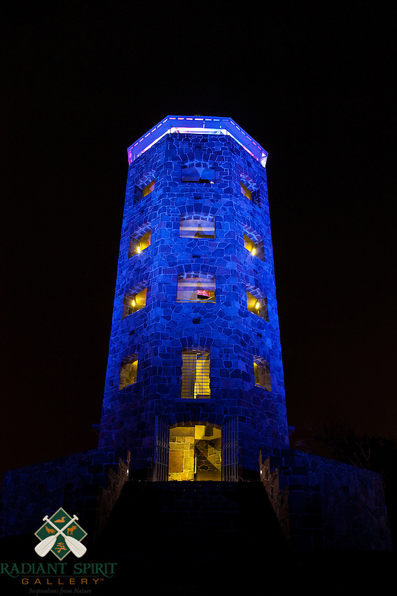 Enger Tower was lit in red and blue for the Independence Day celebrations.<br /> <br /> The 80 foot high Enger Park Tower was dedicated in 1939 by Crown Prince Olav and Crown Princess Martha of Norway. The scenic views from the park and tower are some of the best in the city.