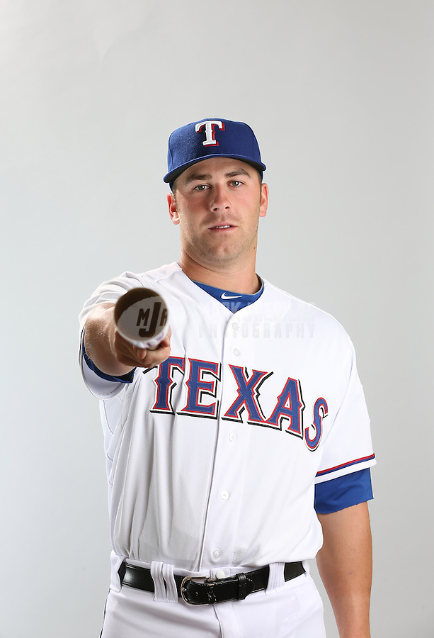 Feb. 20, 2013; Surprise, AZ, USA: Texas Rangers infielder Mike Olt poses for a portrait during photo day at Surprise Stadium. Mandatory Credit: Mark J. Rebilas-