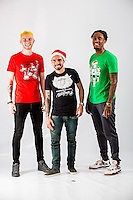 Wednesday 02 November 2016<br /> Pictured L-R: Ollie McBurnie, Leon Britton and Leroy Fer<br /> Re: Swansea City Christmas Photo shoot, Liberty Stadium, Wales, UK