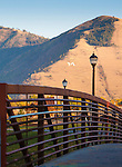 "Riverfront trail footbridge in Missoula, Montana. Mount Sentinel and the ""M"" are visible in the background."