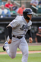 Biloxi Shuckers center fielder Trent Grisham (6) runs to first base during a Southern League game against the Jackson Generals on June 14, 2019 at The Ballpark at Jackson in Jackson, Tennessee. Jackson defeated Biloxi 4-3. (Brad Krause/Four Seam Images)