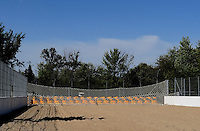 Sept. 6, 2010; Clermont, IN, USA; View of the sand trap net and car containment system at the end of O'Reilly Raceway Park at Indianapolis. Mandatory Credit: Mark J. Rebilas-