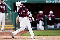 Tate Matheny #26 of the Missouri State Bears makes contact on a pitch during a game against the Wichita State Shockers at Hammons Field on May 5, 2013 in Springfield, Missouri. (David Welker/Four Seam Images)