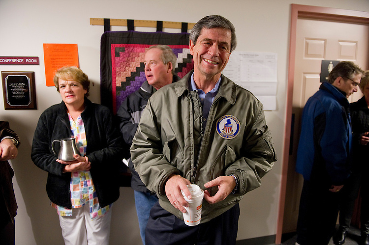 EDGMONT TOWNSHIP, PA - Nov 02: U.S. Rep. Joe Sestak, D-Pa., candidate for U.S. Senate, waits in line for the polls to open to vote at the Edgmont Township Fire Company. He was fourth in line. His opponent is Republican Pat Toomey.  (Photo by Scott J. Ferrell/Congressional Quarterly)