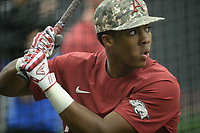 NWA Democrat-Gazette/ANDY SHUPE<br /> Arkansas left fielder Christian Franklin takes batting practice Friday, June 7, 2019, during practice in The Fowler Family Baseball and Track Training Center ahead of today's NCAA Super Regional game at Baum-Walker Stadium in Fayetteville. Visit nwadg.com/photos to see more photographs from the practices.