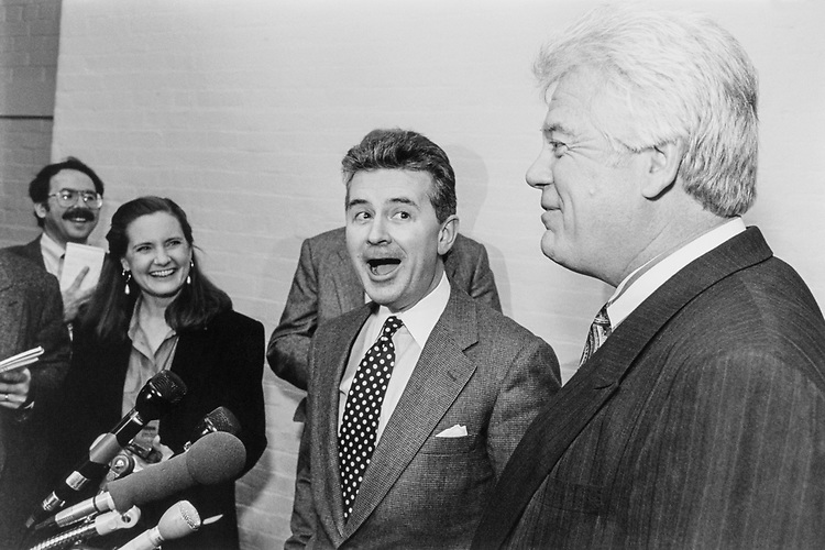 Rep. Fred Grandy, R-Iowa and Rep. Jim McDermott, D-Wash. talking to reporters after Ethics Committee meeting on Nov. 30, 1994.(Photo by Chris Martin/CQ Roll Call)