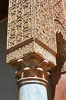 The arabesque  plasterwork  of the Saadian Tombs the 16th century mausoleum of the Saadian rulers, Marrakech, Morroco