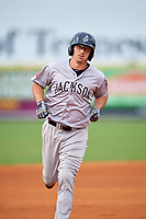 Jackson Generals first baseman Josh Prince (8) rounds the bases after hitting a home run in the top of the first inning during a game against the Chattanooga Lookouts on May 9, 2018 at AT&T Field in Chattanooga, Tennessee.  Chattanooga defeated Jackson 4-2.  (Mike Janes/Four Seam Images)