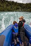 USA, Alaska, Coopers Landing, Kenai River, group of individuals rafting down the Kenai River