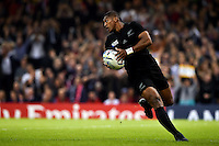 Waisake Naholo of New Zealand runs in a try. Rugby World Cup Pool C match between New Zealand and Georgia on October 2, 2015 at the Millennium Stadium in Cardiff, Wales. Photo by: Patrick Khachfe / Onside Images