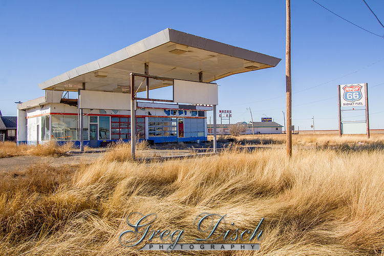 Abandoned Route 66 gas station in Conway Texas next to the Bug Ranch.