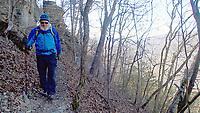 NWA Democrat-Gazette/FLIP PUTTHOFF<br /> Tom Mowry navigates    Jan. 19 2018   the Buffalo River Trail  between Poncal and Steel Creek.