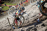 Sanne Cant (BEL/BKCP-Powerplus) up the extreme steep sandy dune out of &quot;The Pit&quot;<br /> <br /> GP Zonhoven 2014