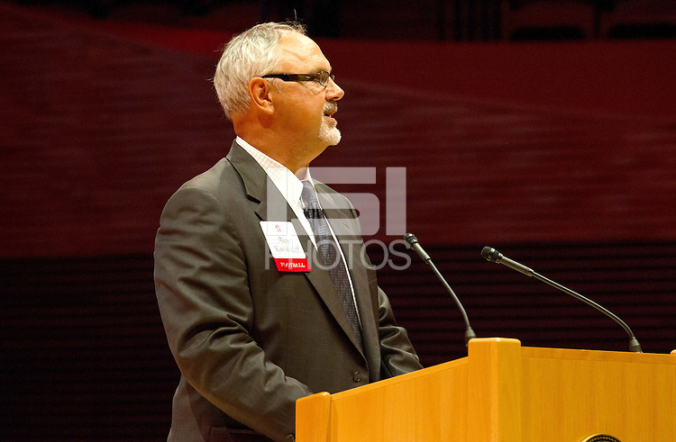 STANFORD, CA - OCTOBER 16, 2015—Alex Karakozoff, a inductee gives a speech at the 2015 Stanford Athletics Hall of Fame Induction Ceremony at the Bing Concert Hall .