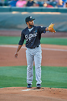 El Paso Chihuahuas starting pitcher Emmanuel Ramirez (40) during the game against the Salt Lake Bees at Smith's Ballpark on August 17, 2019 in Salt Lake City, Utah. The Bees defeated the Chihuahuas 5-4. (Stephen Smith/Four Seam Images)