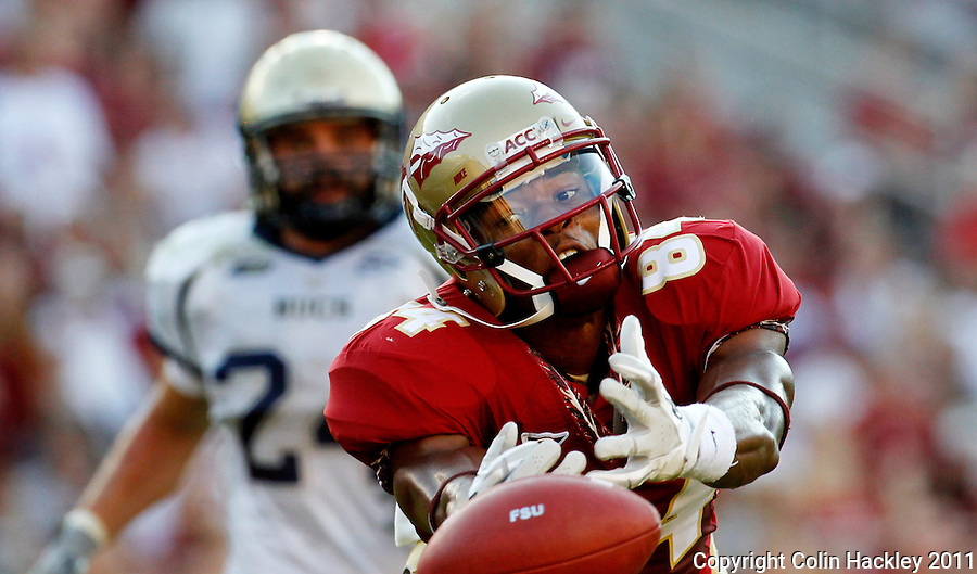 TALLAHASSEE, FL 10-FSU-CSU091011 CH-Florida State's Rodney Smith can't quite reach a pass from EJ Manuel during first half action against Charleston Southern Saturday at Doak Campbell Stadium in Tallahassee. .COLIN HACKLEY PHOTO